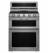 Kitchenaid Gas Double Oven Convection Range KFGD500ESS 30-Inch 5 Burner