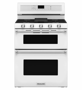Kitchenaid Gas Double Oven Convection Range KFGD500EWH 30-Inch 5 Burner  White Gas Range