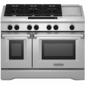 "KitchenAid KDRS483VSS 48"" Commercial-Style Freestanding Dual Fuel Range with 6.3 cu. ft."