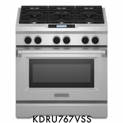 "KitchenAid KDRU767VSS 36"" Commercial Style Freestanding Dual Fuel Range with 6 Sealed Burners"