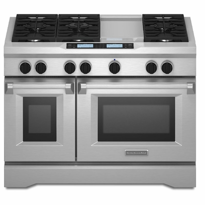 kitchenaid kdru783vss 48 commercial style dual fuel range with 6 3 cu