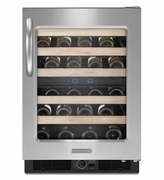 KitchenAid Mini Refrigerators KUWS24RSBS 24'' Wine Cellar, Right-Hand Door Swing, Architect� Series II