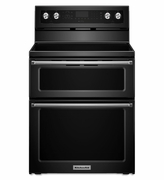 Kitchenaid Range 5 Burner Electric Double Oven Convection Range BLACK KFED500EBL 30-Inch