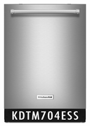 KitchenAid Stainless Steel Integrated Console Dishwasher with Dynamic Wash Arms and Bottle Wash 44 dBA KDTM704ESS