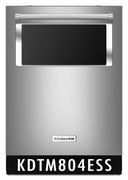 KitchenAid Stainless Steel Integrated Console Dishwasher with Window and Lighted Interior 44 dBA KDTM804ESS