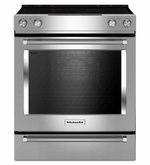 Kitchenaid Stainless Steel Range With 5-Element Electric Convection Slide-In Range with Baking Drawer 30-Inch KSEB900ESS