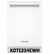 Kitchenaid White Dishwasher 39 dBA Dishwasher Model #KDTE254EWH with ProScrub Option ENERGY STAR
