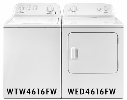 Whirlpool Pair Combo 3.5 Cu Ft Washer WTW4616FW and 7.0 Cu Ft Dryer WED4616FW