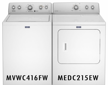 MAYTAG 3.6 CU. FT. WASHER WITH DEEP WATER WASH MVWC416FW and 7.0 CU. FT. DRYER WITH AUTODRY SENSOR MEDC215EW