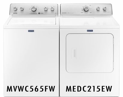 Maytag 4. 2 cu ft Washer in White with Deep Water Wash and PowerWash MVWC565FW and 7.0 cu ft Dryer with AutoDry MEDC215EW