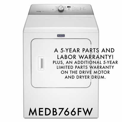 Maytag 5 Year Warranty 7 cu. ft. Dryer with 9 Dry Cycles, Wrinkle Control, Sanitize, Rapid Dry MEDB766FW