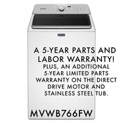 MAYTAG 5 Year Warranty 4.7 CU. FT. WASHER WITH THE DEEP FILL OPTION & POWERWASH CYCLE MVWB766FW