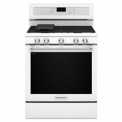 New Kitchenaid Gas Range KFGG500EWH White Gas Burner Range 5 Burners
