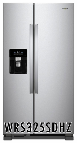 Whirlpool 24.6 cu. ft. Refrigerator with 4 Glass Shelves, External Water Dispenser, Crisper Drawer, Ice Maker, Adaptive Defrost, ADA Compliant, in Stainless Steel WRS325SDHZ