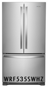 Whirlpool 25.2 cu. ft. French Door Refrigerator with 5 Glass Shelves, Internal Water Dispenser, Crisper Drawer, Ice Maker, Accu-Chill� and Fingerprint Resistant Stainless Steel WRF535SWHZ