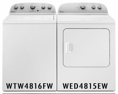 WHIRLPOOL 3.5 CU. FT.  WASHER WTW4816FW and 7.0 cu. ft Dryer with Heavy Duty Cycle WED4815EW