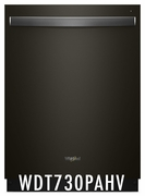 Whirlpool 51 dBA Black Stainless Steel Dishwasher with Fan Dry, 5 Wash Cycles, 15 Place Settings, Soil Sensor, Heated Dry Option, WDT730PAHV