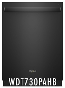 Whirlpool 51 dBA Dishwasher with Fan Dry, 5 Wash Cycles, 15 Place Settings, Soil Sensor, Energy Star Certified, Heated Dry Option in Black WDT730PAHB