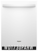 Whirlpool 51 dBA Dishwasher with Fan Dry, 5 Wash Cycles, 15 Place Settings, Soil Sensor, Energy Star Certified, Heated Dry Option - White WDT730PAHW