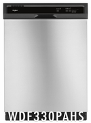 Whirlpool 55 dBA Dishwasher with 3 Wash Cycles, Energy Star Certified, Star K Certified, 1-Hour Wash Cycle, Heated Dry Option in White WDF330PAHS