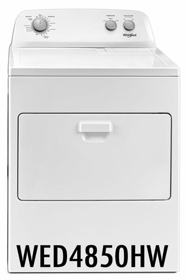 Whirlpool 7 cu ft Capacity Dryer with AutoDry Drying System WED4850HW