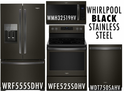 Whirlpool Black Stainless Steel Kitchen Package WRF555SDHV, WFE525S0HV, WDT750SAHV, WMH32519HV