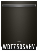 Whirlpool Fully Integrated Black Stainless Steel 47 dBA Dishwasher with 5 Wash Cycles, 15 Place Settings, Soil Sensor, Energy Star Certified, 1-Hour Wash Cycle  WDT750SAHV