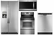 Whirlpool Stainless Steel Appliance Package  Refrigerator WRS325SDHZ , Range WFE515S0ES , Dishwasher WDF520PADM , Microwave WMH31017HZ