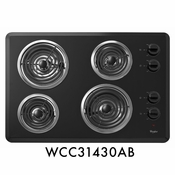 "Whirlpool WCC31430AB 30"" Coil Electric Cooktop With 4 Coil Heating Elements"