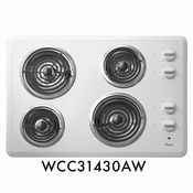 "Whirlpool WCC31430AW 30"" Coil Electric Cooktop With 4 Coil Heating Elements"