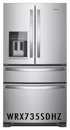 Whirlpool 25 cu. ft. French Door Refrigerator with External Refrigerated Drawer, PUR Water Filtration System, Fingerprint Resistant Stainless Steel WRX735SDHZ