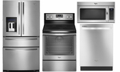 Whirlpool WRX735SDBM 25 cu. ft. French Door Refrigerator, Freestanding Electric Stainless Steel Range WFE745H0FS, Stainless Steel Whirlpool Dishwasher WDT720PADM, Microwave 1.7 cu. ft. Whirlpool Over the Range Microwave WMH31017AS