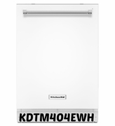 White Dishwasher Kitchenaid KDTM404EWH Dishwasher with Dynamic Wash Arms 44 dBA ENERGY STAR