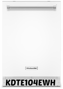 White  Kitchenaid Dishwasher with ProWash Cycle 46 dBA KDTE104EWH ENERGY STAR