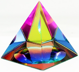 Iridescent Pyramid Rainbow Colors 3.5 Inch