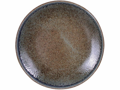 10-1/8 Inch Pale Blue and Earthen Crackled Sand Japanese Dinner Plate