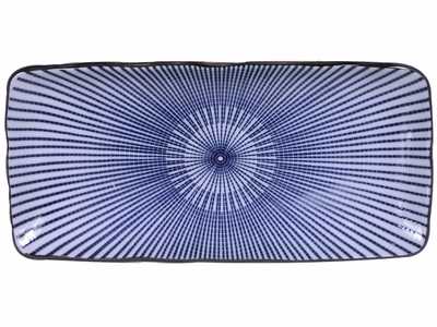 11 Inch Blue and White Japanese Parasol Illusion Rectangular Plate (LAST 3 PLATES)