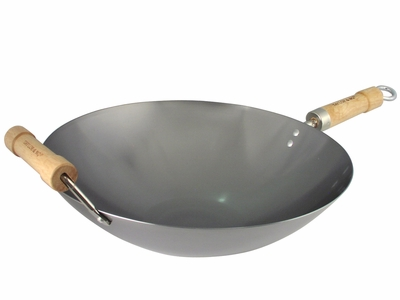 14 Inch Carbon Steel Non-Seasoned Round Bottom Wok