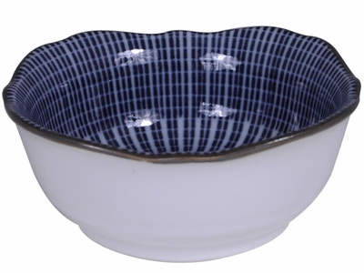 3-1/2 Inch Blue and White Japanese Parasol Illusion Soy Sauce Bowl (LAST 11 BOWLS)
