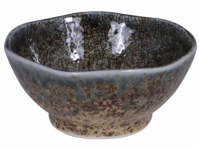 3-5/8 Inch Pale Blue and Earthen Crackled Sand Small Sauce Dish