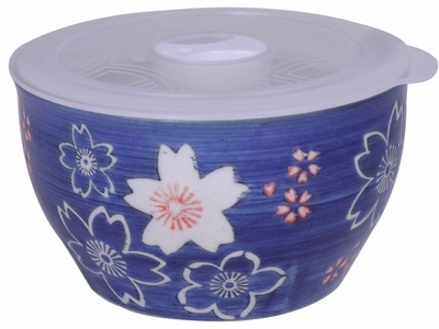 4-1/8 Inch Small Blue and White Cherry Blossom Bowl With Lid