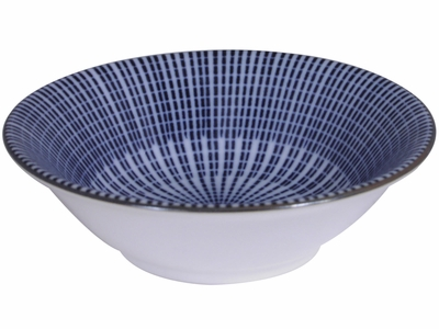4-3/8 Inch Blue and White Parasol Illusion Japanese Ceramic Soy Sauce Dish