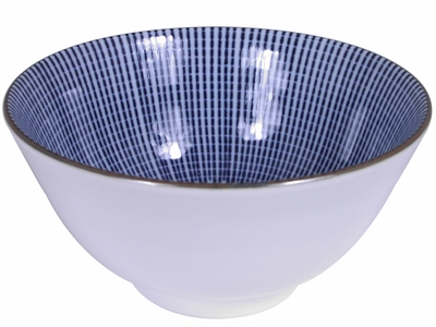 5-1/4 Inch Blue and White Parasol Illusion Japanese Cereal Bowl (LAST 6 BOWLS)