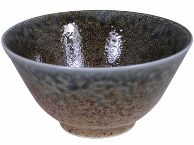 5-1/8 Inch Pale Blue and Earthen Sand Crackle Japanese Rice Bowl