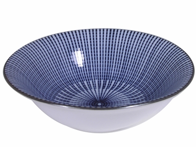 5-5/8 Inch Blue and White Parasol Illusion Japanese Nut Bowl (LAST 5 BOWLS)