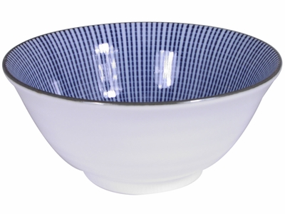 5-7/8 Inch Blue and White Japanese Parasol Illusion Asian Ceramic Bowl (LAST # BOWLS)