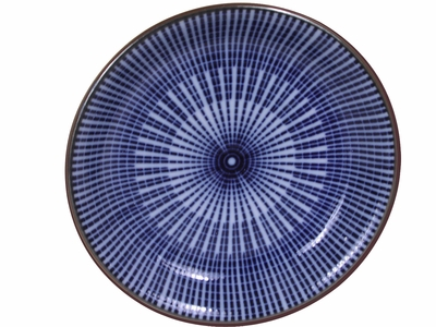5 Inch Blue and White Japanese Parasol Illusion Shallow Plate (LAST 12 BOWLS)