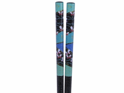 50 Pairs Abstract Butterflies in Blue Green Meadows Black Bulk Chopsticks