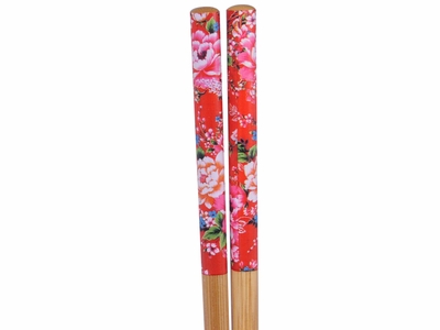 50 Pairs Noble Pink Peonies on Red Bulk Chopsticks For Sale