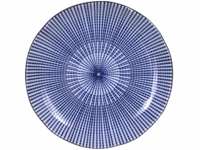 6-1/2 Inch Blue and White Japanese Parasol Illusion Japanese Dishware Appetizer Plate